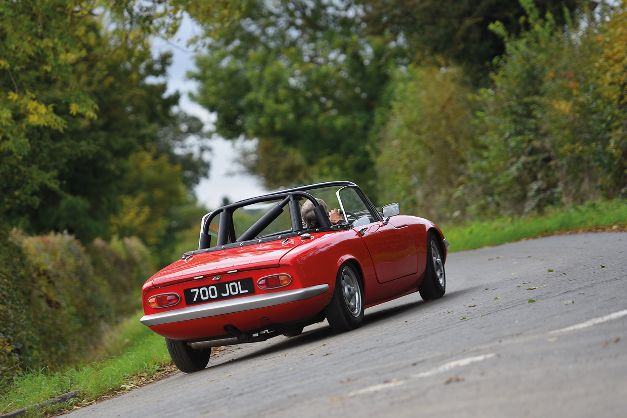 On the road in the Lotus Elan