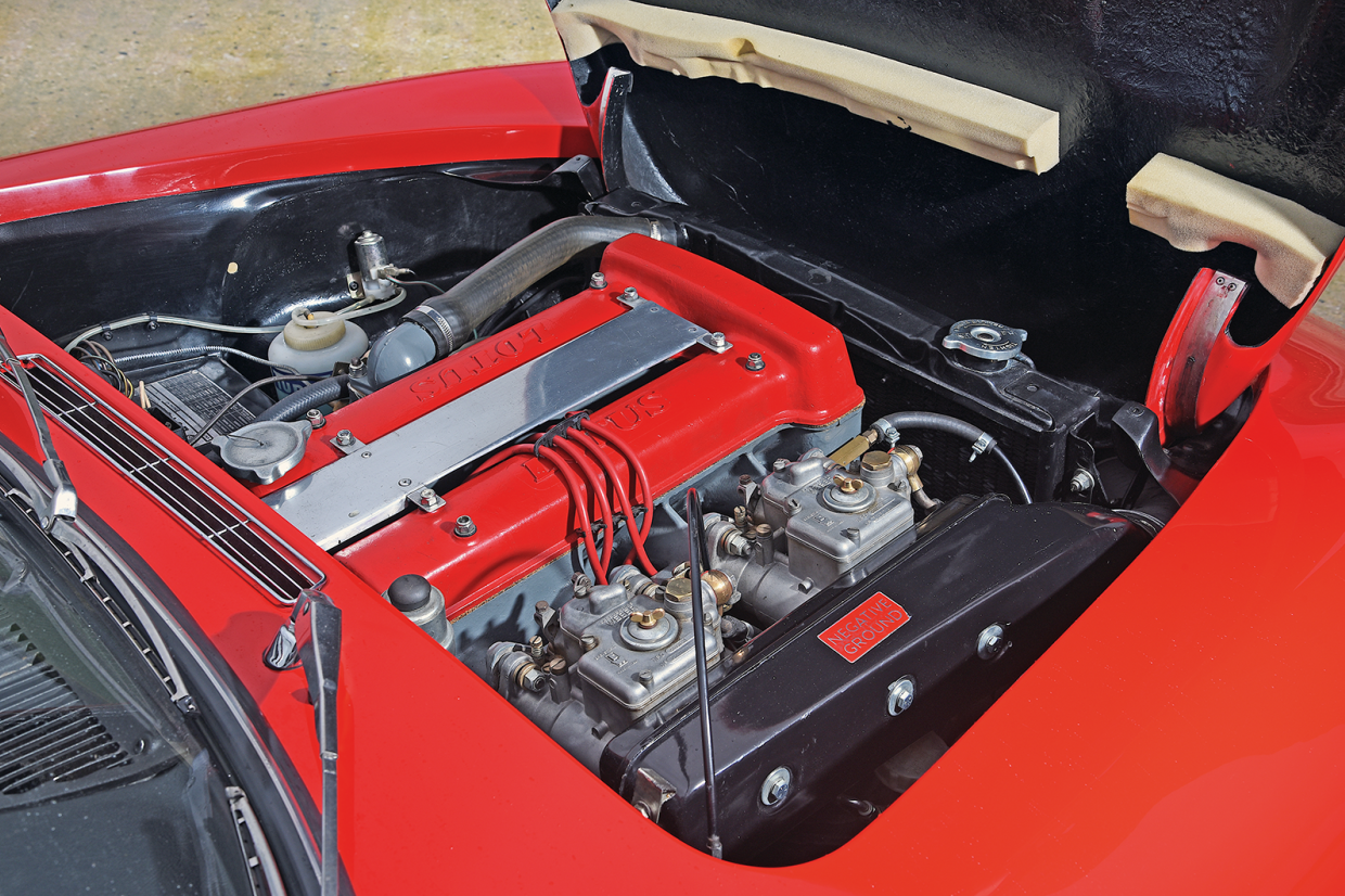 The dohc 1558cc four-cylinder engine of the Lotus Elan