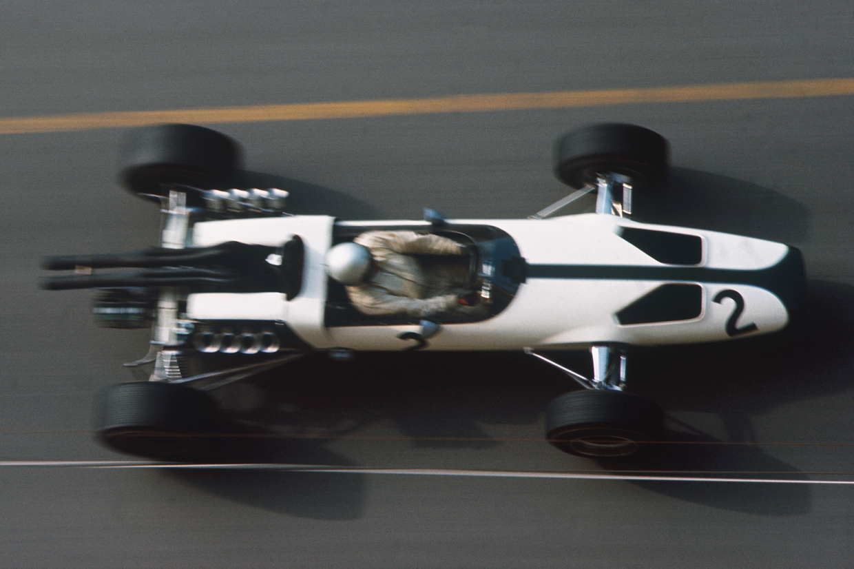 McLaren made its team debut at Monte-Carlo in '66, Bruce McLaren piloting the Ford-engined M2B Ford