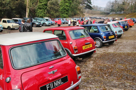 Minis mass for Brooklands open day